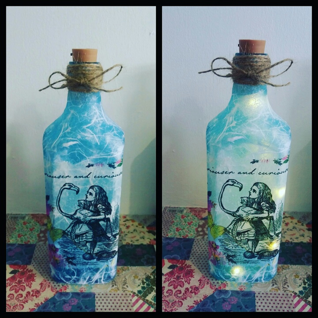 alice in wonderland bottle lamp
