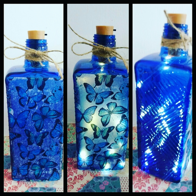 beautiful blue butterflies bottle lamp