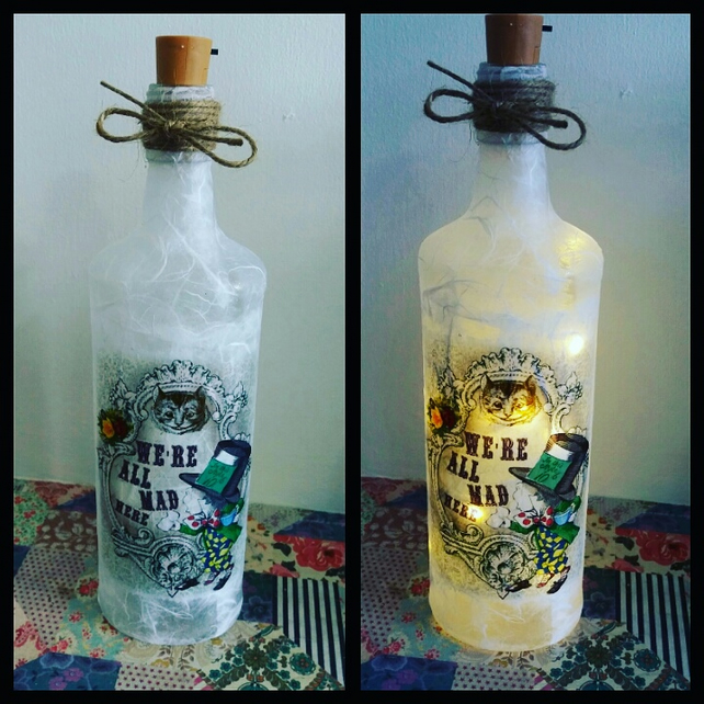 alice in wonderland mad hatter bottle lamp