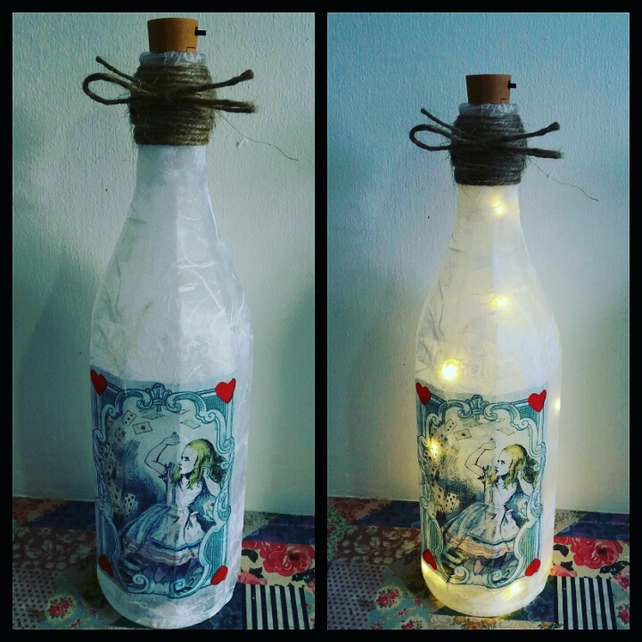 alice in wonderland playing cards bottle lamp