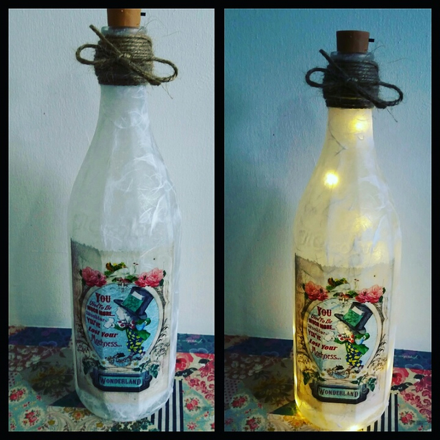 alice in wonderland mad hatter muchier bottle lamp