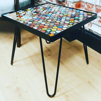 Bottle top table with epoxy resin finish