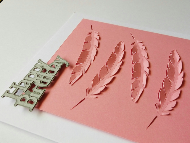 Pink Papercut Feather Birthday Card