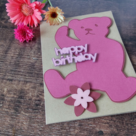Pink Teddy Bear Birthday Card
