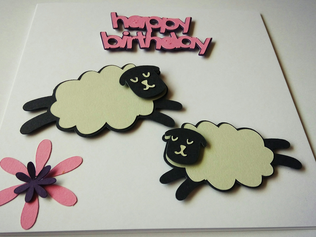 Leaping Sheep Birthday Card