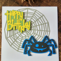 Spider Happy Birthday Card