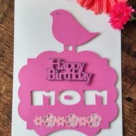 Pink Bird Birthday Card for Mom