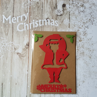 Merry Christmas Santa Cut Out Kraft Card