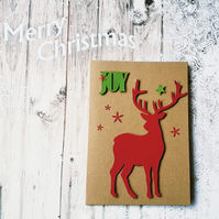 Joy at Christmas, Red Reindeer Kraft Card
