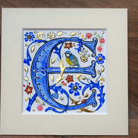 Capital letter, Initial, Full name medieval illuminated letter, personalised.