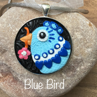Blue bird, Happy fun cheerful bird head face pendants,flowers and pretty colours