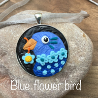 Blue flower bird, happy cheerful fun silly bird necklace pendant, flowers hearts