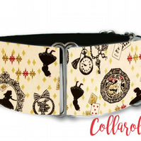 Disney Alice in wonderland oatmeal dog collar in all sizes