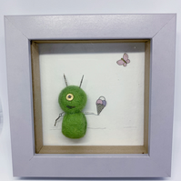 Alien Frame OOAK handmade.felt and recycled parts watches jewellery