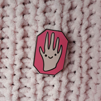 'Happy Hand' hard enamel pin badge