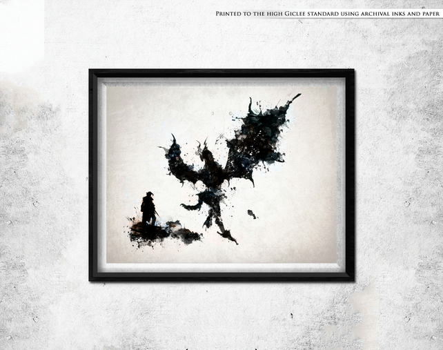 Skyrim inspired Dovahkiin and Alduin abstract print