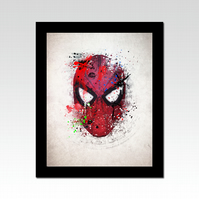 Spider-Man mask abstract and paint splatter effect print