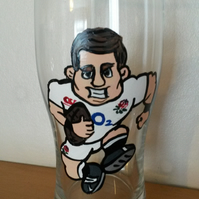 Hand Painted Personalised Rugby Player Pint Glass