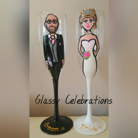 Hand Painted Personalised Bride and Groom Champagne Flutes
