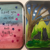 Miniature 'love you to the moon and back' sitting cats artwork