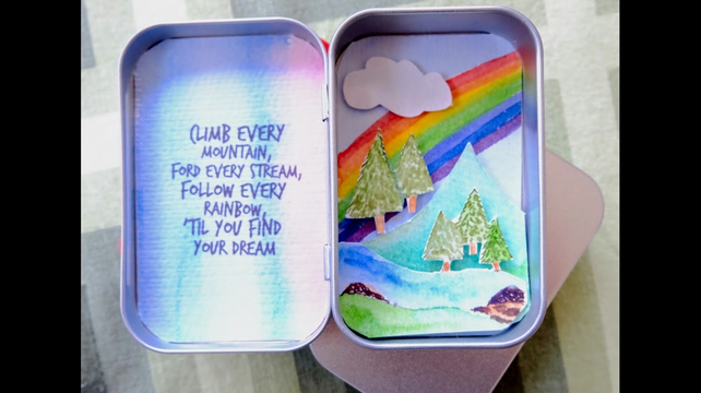 Miniature 'Over the Rainbow' original watercolour in a tin