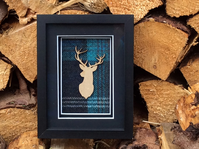 Modern black box frame art, Stag Head, Azure Tartan