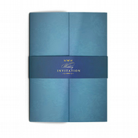 Teal Gatefold Wedding Invitations with Belly Band - Elegant and Stylish Wedding