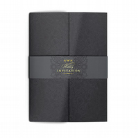 Black Gatefold Wedding Invitations with Belly Band - Elegant and Stylish Wedding