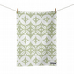 Geometric Pattern Tea Towel, Green, Kitchen Cotton Tea Towel, Designer Tea Towel