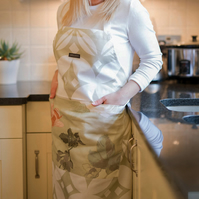 Luxury Apron, Nature Apron, Full Kitchen Apron, Apron With Pocket, Mum Gift,