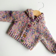 Pink Hooded Baby Cardigan - 0-6 months