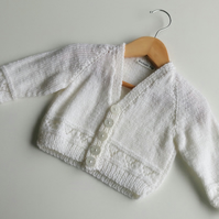 White Glittery Baby Cardigan - 0-6 months