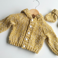 Ochre Hooded Baby Cardigan & Booties - 0-6 months