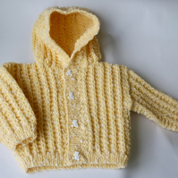 Lemon Baby Hooded Cardigan - 0-3 months