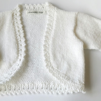 White Summer Baby Cardigan - 0-6 months