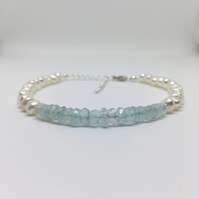 Aquamarine and Pearl Bracelet, 925 Sterling Silver, Gift for Her, Bridal Wedding