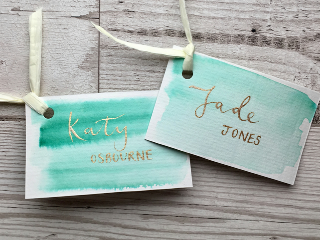 Custom Calligraphy Watercolour Place Cards, Name Cards, Wedding Table Setting