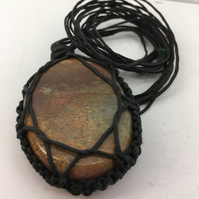 Macrame and brown jasper necklace