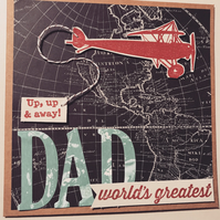 "Birthday or Father's Day ""Up, Up and Away"" Vintage Plane Card"