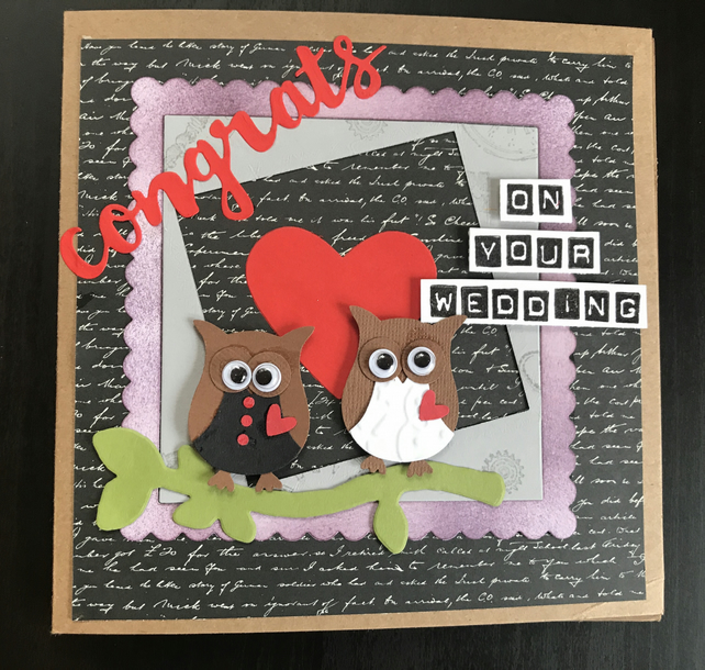 "Wedding ""Congrats Mr & Mrs Owl"" Card Personalised"