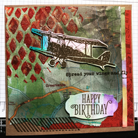 "Birthday ""Spread your wings"" Vintage Plane Card"
