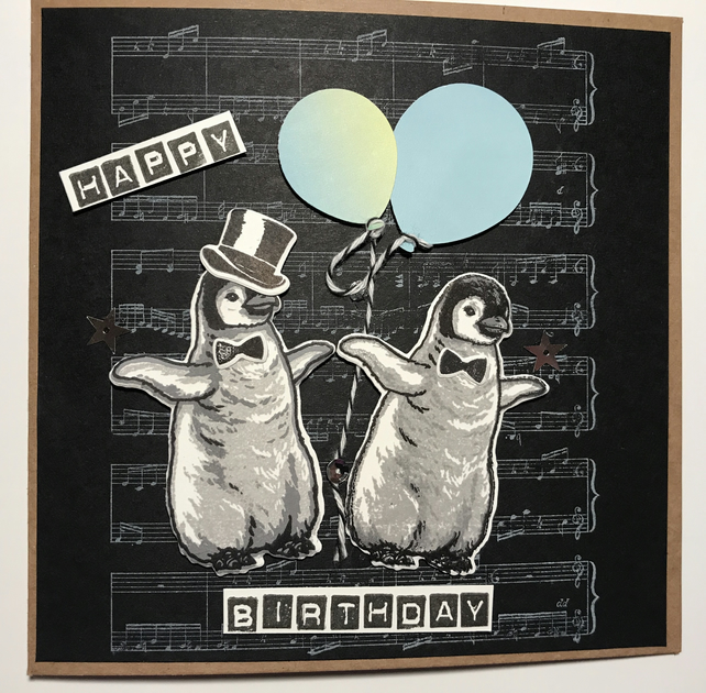 "Birthday ""Dancing Penguins"" Card  can be Personalised"