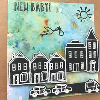 New Baby Brusho Watercoloured Card