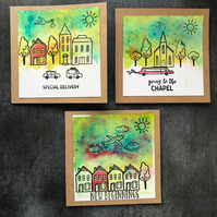 Set of 3 Life Events Brusho Watercoloured Cards