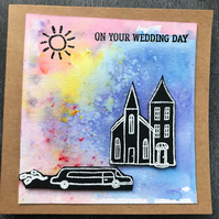 On Your Wedding Day Brusho Watercoloured Card