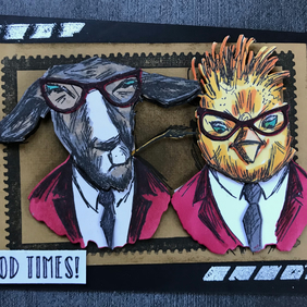 "Hipster ""Good Times"" Layered Animal Anniversary Card inspired by Tim Holtz"