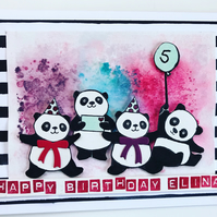 "Birthday ""Party Pandas"" Large Card - Customisable"