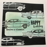 "Birthday ""You're a Classic"" Vintage Car Card"