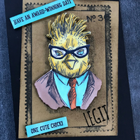 "Birthday ""Charlie the Hipster Chick"" Card"