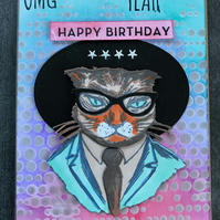 "Birthday ""Hipster Cat"" Card"